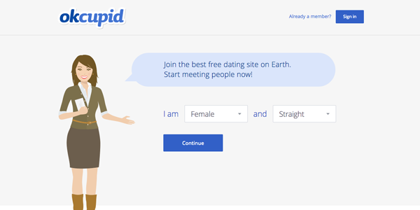 OKCupid's clever call to action makes the sign-up process seem quick and easy