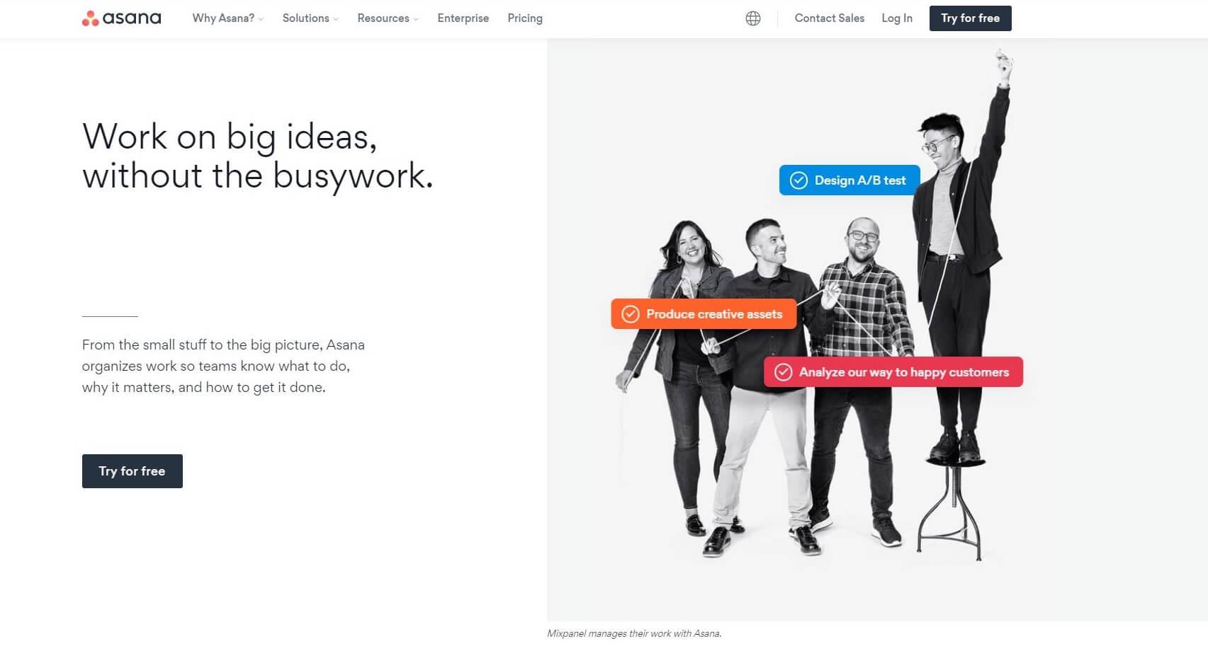 Asana Homepage Capture