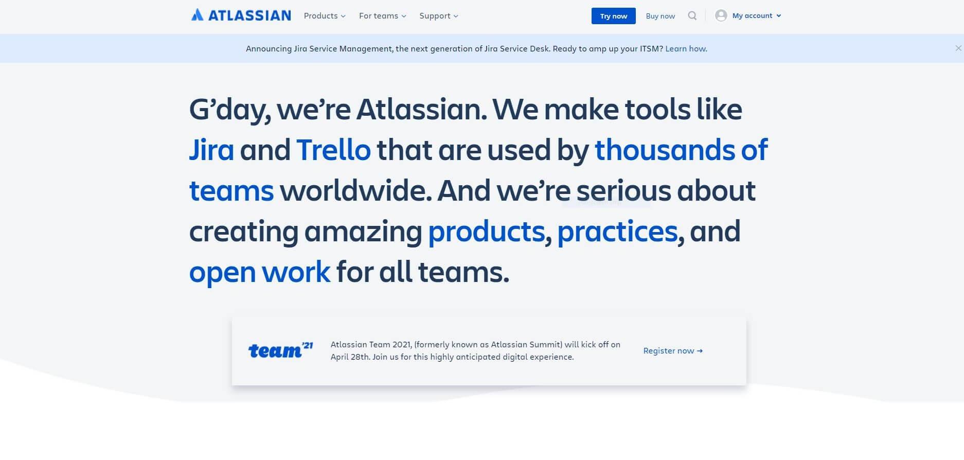 Atlassian Homepage Capture