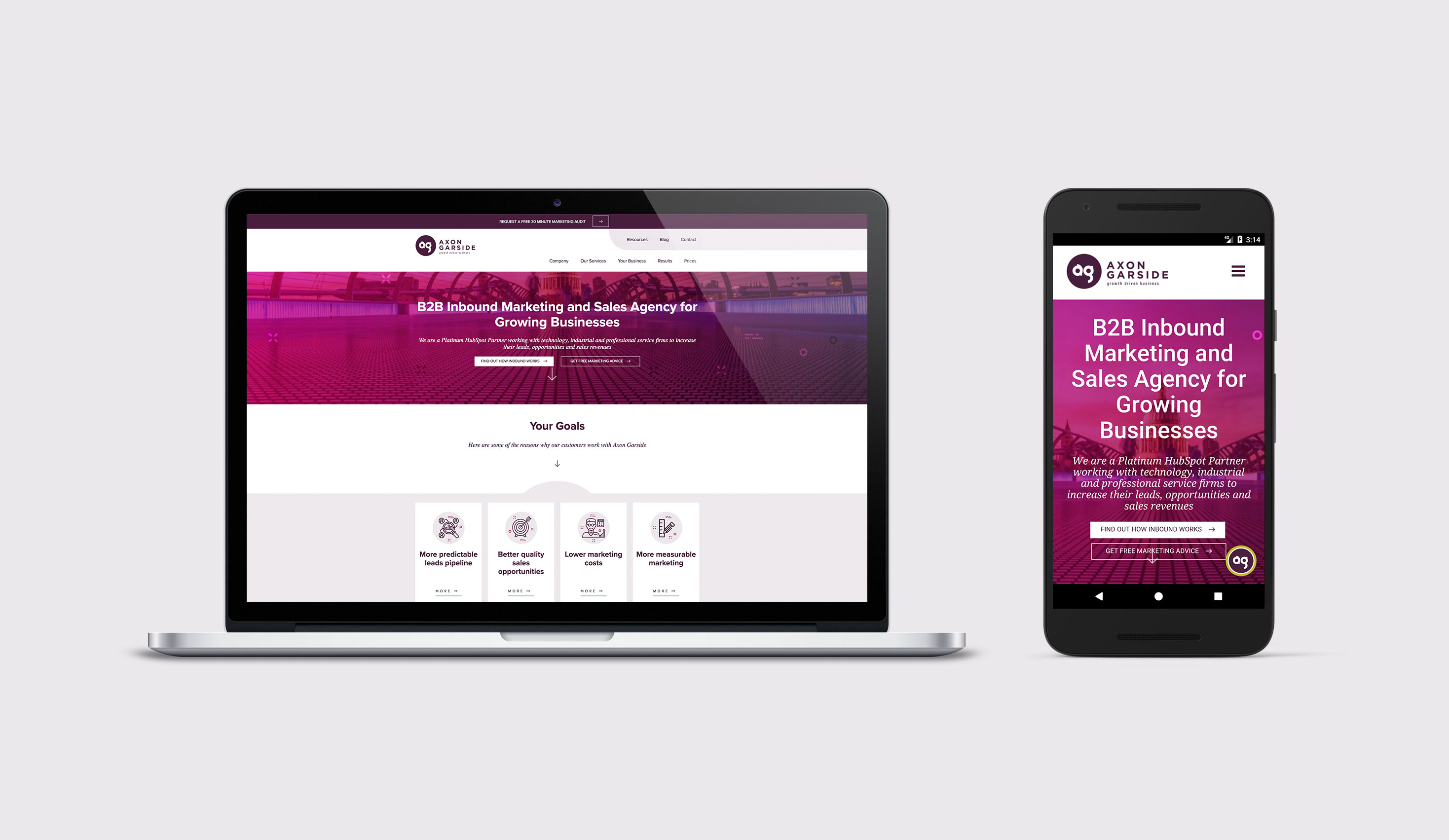 Example of a responsive mobile-optimised website on Axon Garside