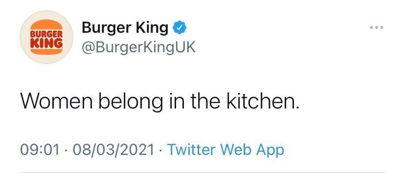Burger King Womens Day Tweet