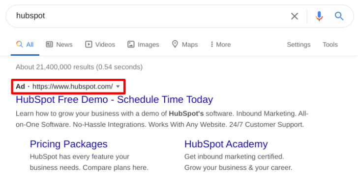 Screenshot of a google of 'hubspot' where the 'Ad' space is highlighted