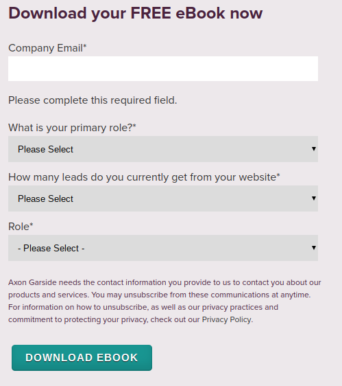 Example of using enticing copy on form buttons