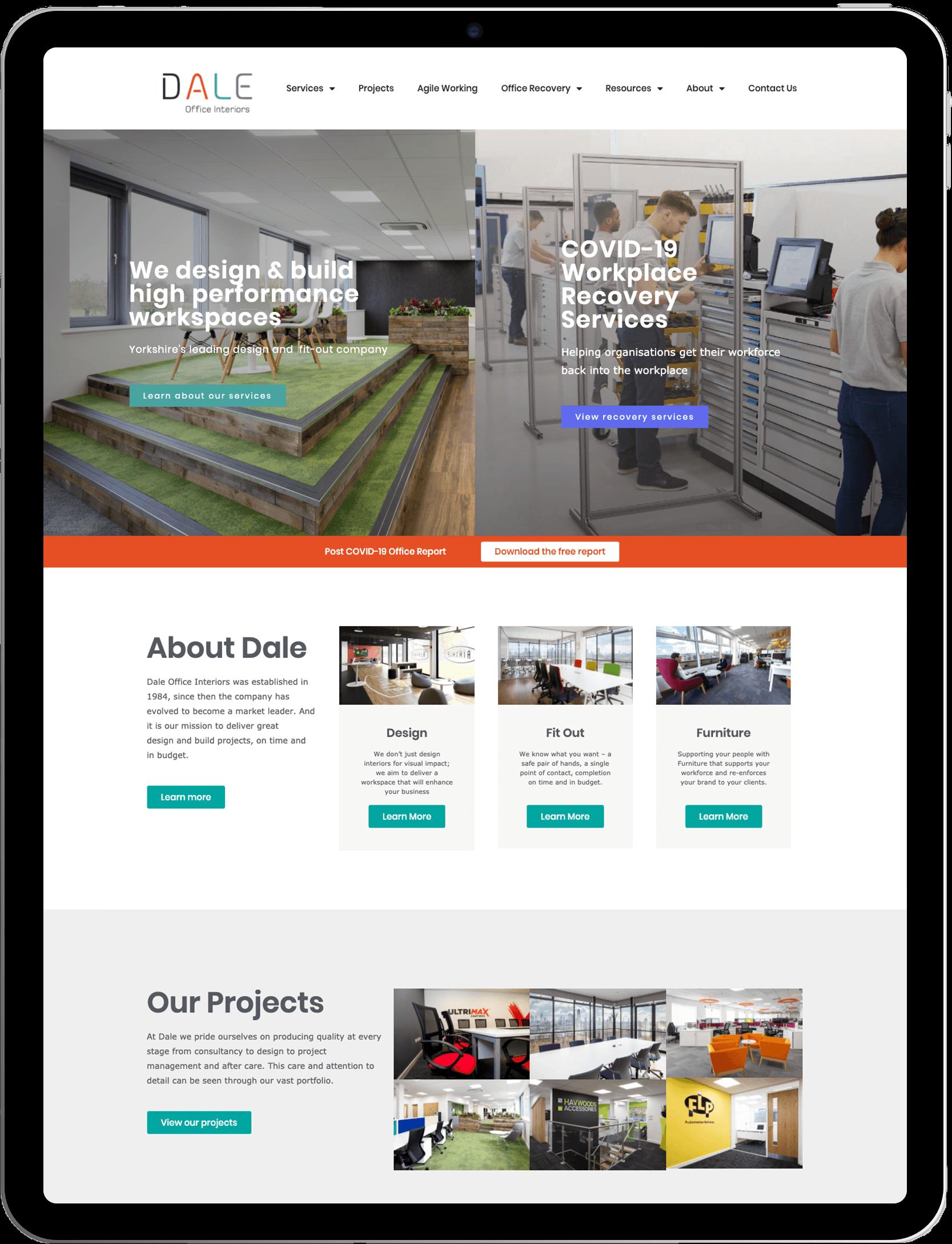 Dale Office Interiors — iPad Mockup