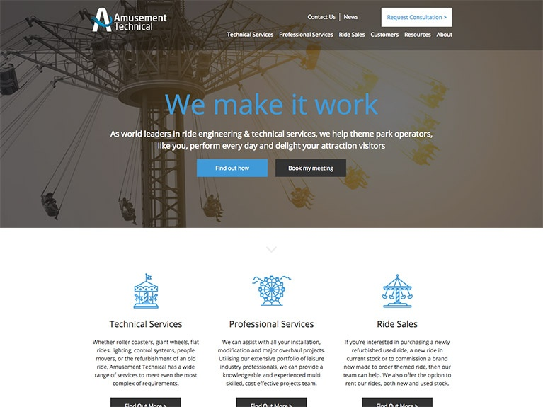 B2B website design for Amusement Technical