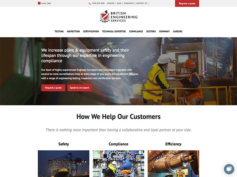 B2B website design for British Engineering Services