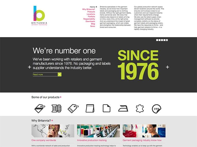 B2B website design for Britannia Garment Packaging