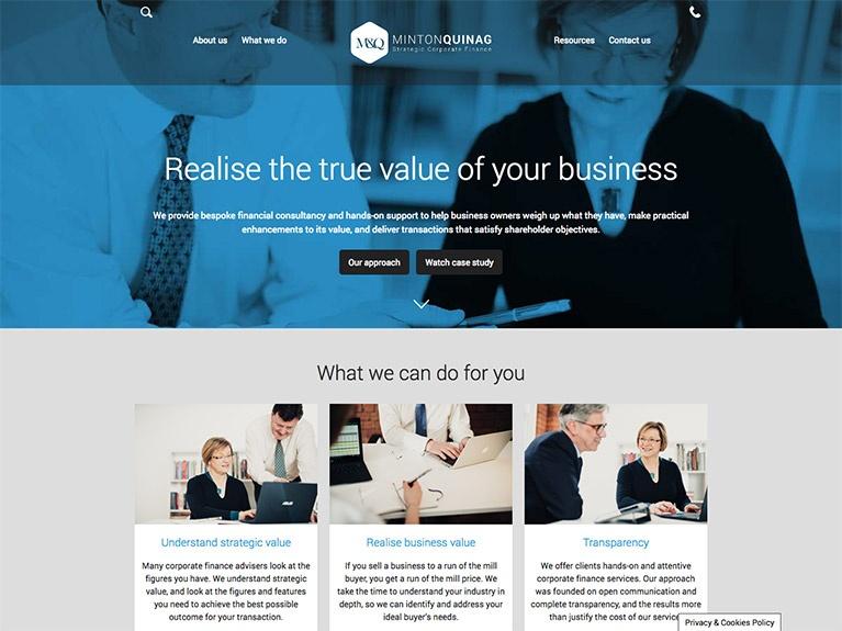 B2B website design for Minton Quinag