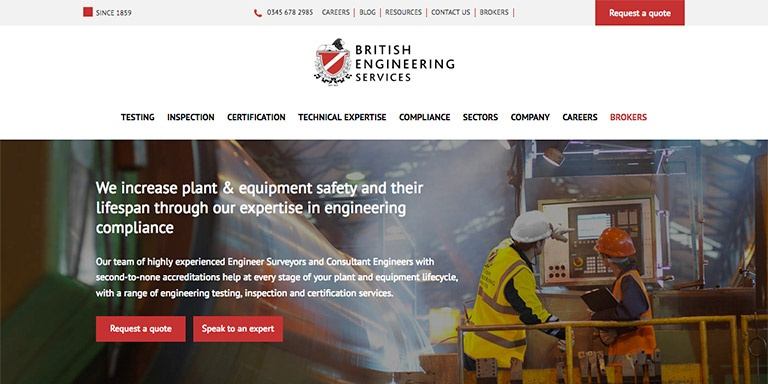 HubSpot COS site for British Engineering Services