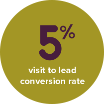 5% visit to lead conversion rate